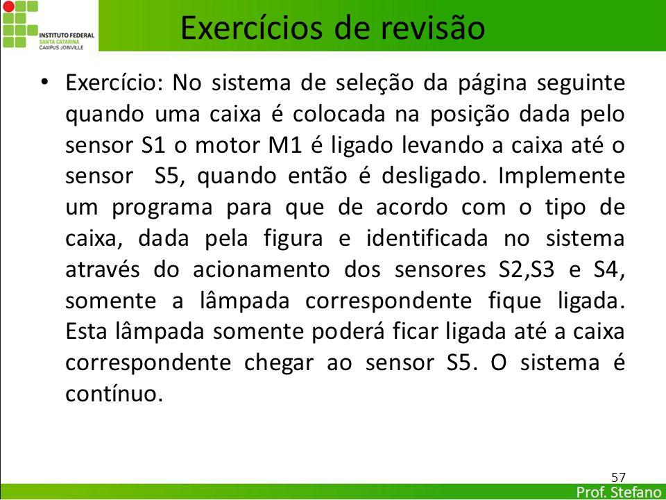 Exercício: No sistema de seleção da página seguinte quando uma caixa é colocada na posição dada pelo sensor S1 o motor M1 é ligado levando a caixa até