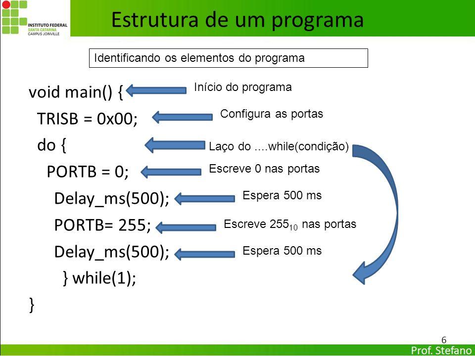 void main() { TRISB = 0x00; do { PORTB = 0; Delay_ms(500); PORTB= 255; Delay_ms(500); } while(1); } 6 Estrutura de um programa Identificando os elemen