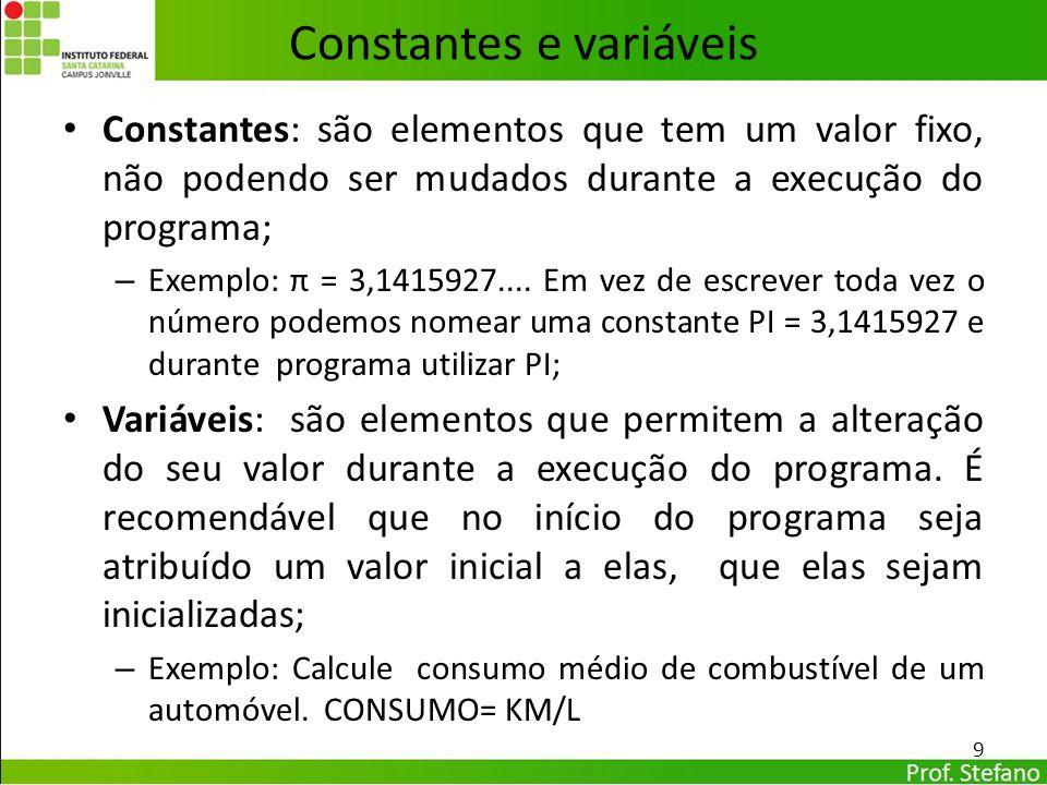 Constantes e variáveis Constantes: são elementos que tem um valor fixo, não podendo ser mudados durante a execução do programa; – Exemplo: π = 3,14159