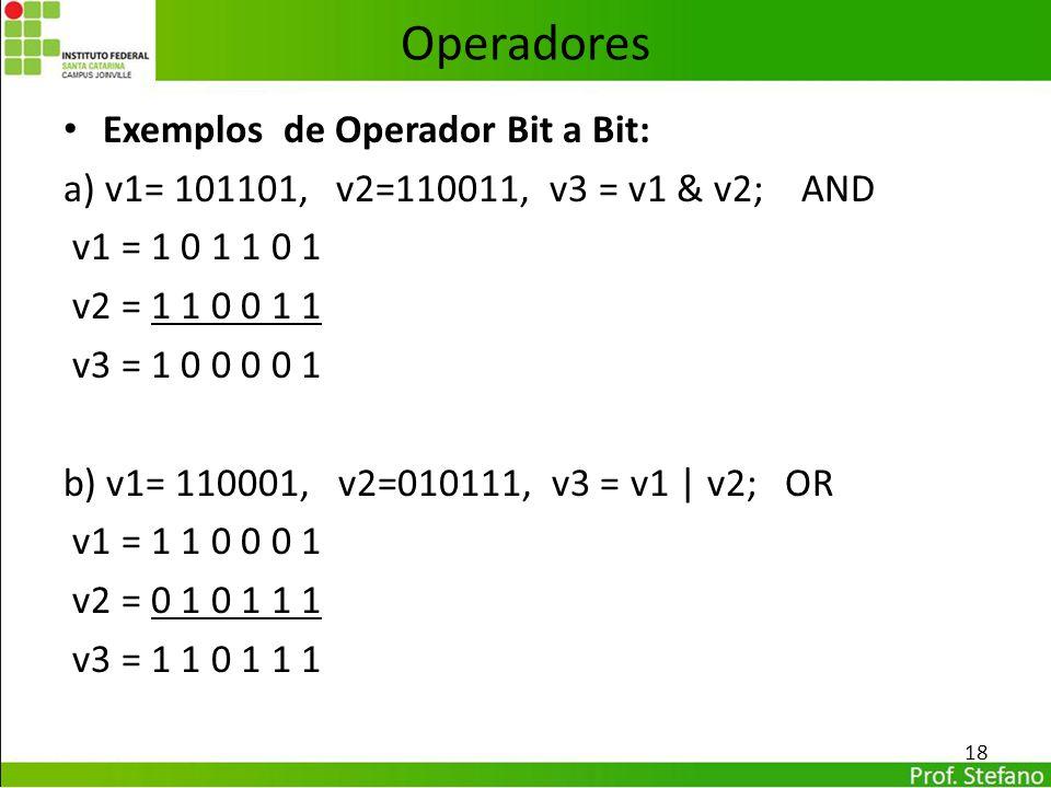 Operadores Exemplos de Operador Bit a Bit: a) v1= 101101, v2=110011, v3 = v1 & v2; AND v1 = 1 0 1 1 0 1 v2 = 1 1 0 0 1 1 v3 = 1 0 0 0 0 1 b) v1= 11000