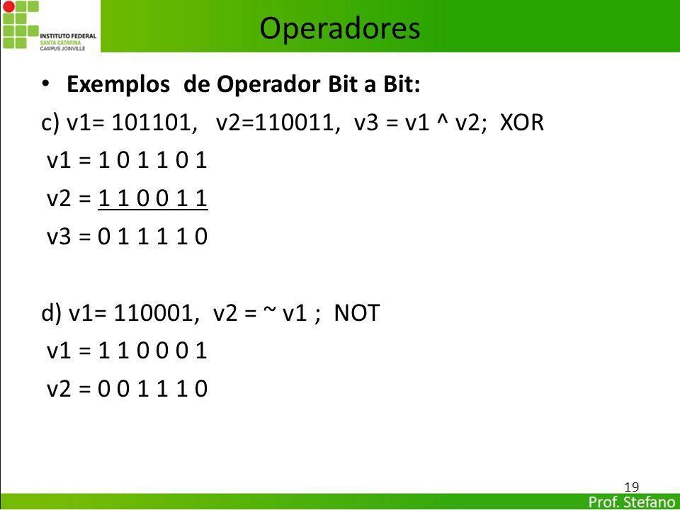 Operadores Exemplos de Operador Bit a Bit: c) v1= 101101, v2=110011, v3 = v1 ^ v2; XOR v1 = 1 0 1 1 0 1 v2 = 1 1 0 0 1 1 v3 = 0 1 1 1 1 0 d) v1= 11000