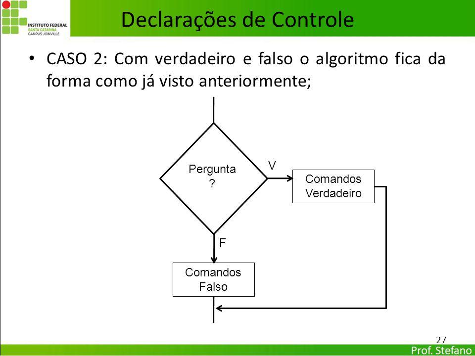 CASO 2: Com verdadeiro e falso o algoritmo fica da forma como já visto anteriormente; pergunta Declarações de Controle 27 Comandos Verdadeiro Comandos