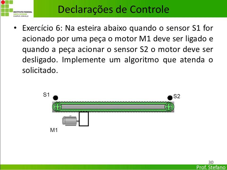 Declarações de Controle Exercício 6: Na esteira abaixo quando o sensor S1 for acionado por uma peça o motor M1 deve ser ligado e quando a peça acionar