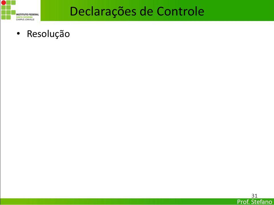 Resolução Declarações de Controle 31