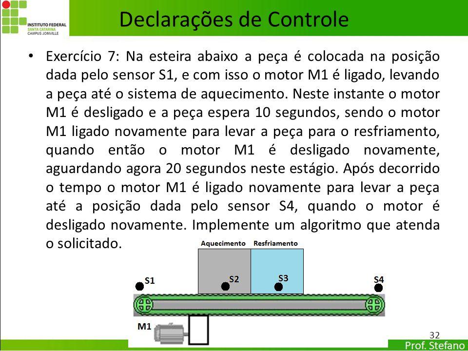 Declarações de Controle Exercício 7: Na esteira abaixo a peça é colocada na posição dada pelo sensor S1, e com isso o motor M1 é ligado, levando a peç