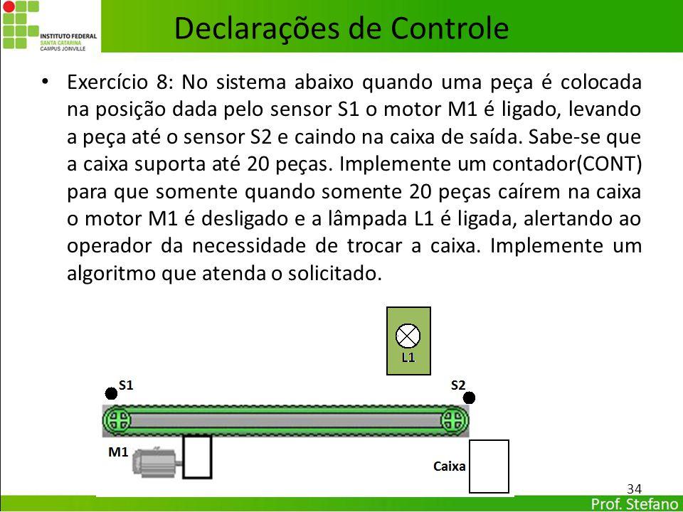 Declarações de Controle Exercício 8: No sistema abaixo quando uma peça é colocada na posição dada pelo sensor S1 o motor M1 é ligado, levando a peça a