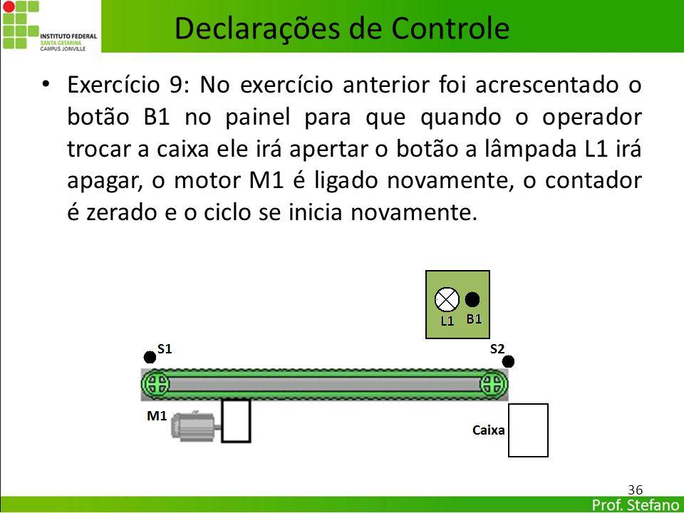 Declarações de Controle Exercício 9: No exercício anterior foi acrescentado o botão B1 no painel para que quando o operador trocar a caixa ele irá ape