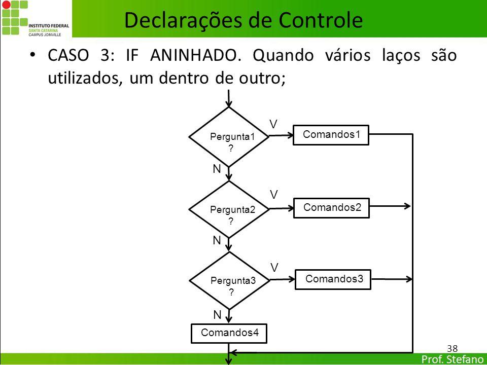 CASO 3: IF ANINHADO. Quando vários laços são utilizados, um dentro de outro; Declarações de Controle 38 Pergunta1 ? Comandos1 N V Pergunta2 ? N V Perg