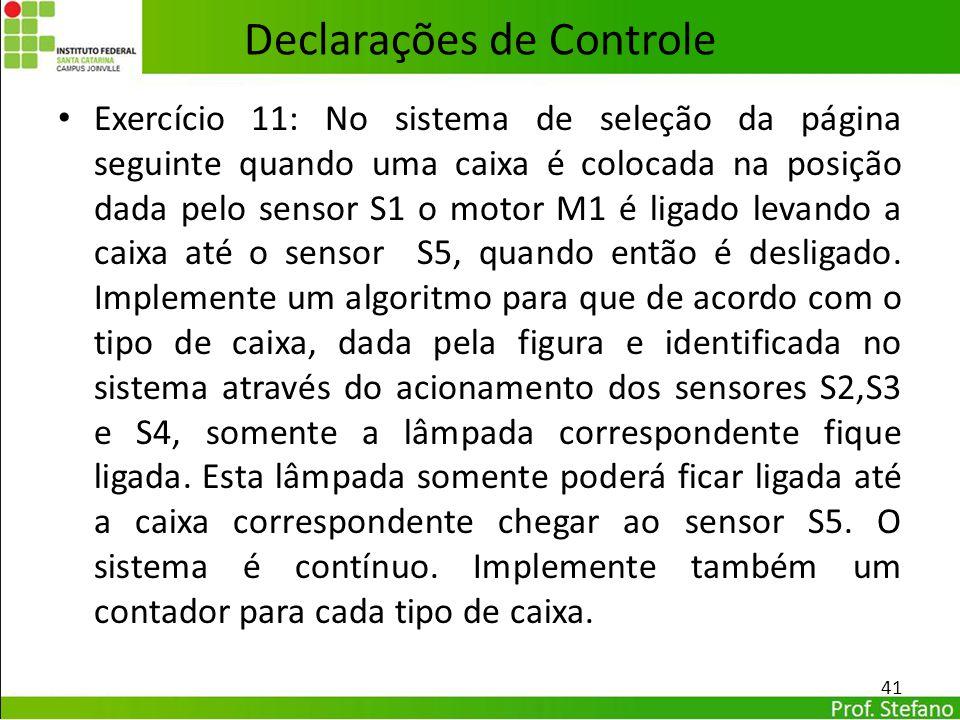 Declarações de Controle Exercício 11: No sistema de seleção da página seguinte quando uma caixa é colocada na posição dada pelo sensor S1 o motor M1 é
