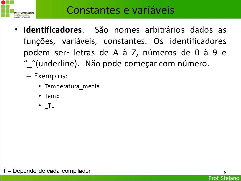 Constantes e variáveis Constantes: são elementos que tem um valor fixo, não podendo ser mudados durante a execução do programa; – Exemplo: π = 3,1415927....