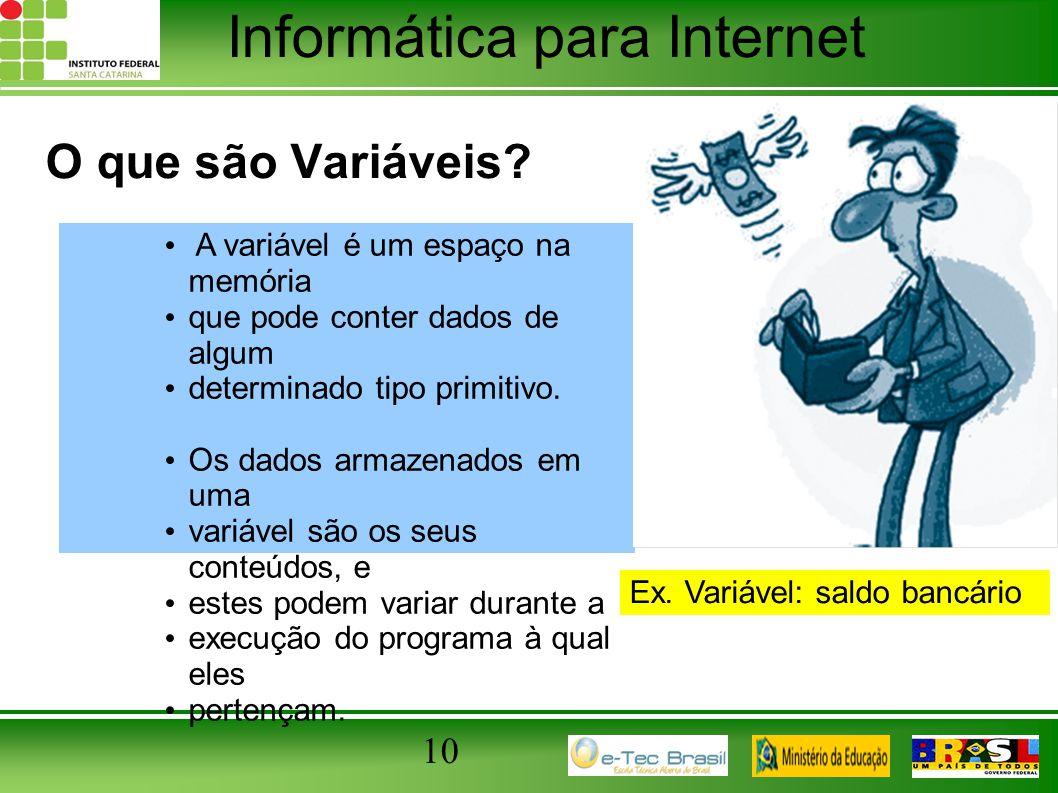 Informática para Internet 10 O que são Variáveis? A variável é um espaço na memória que pode conter dados de algum determinado tipo primitivo. Os dado