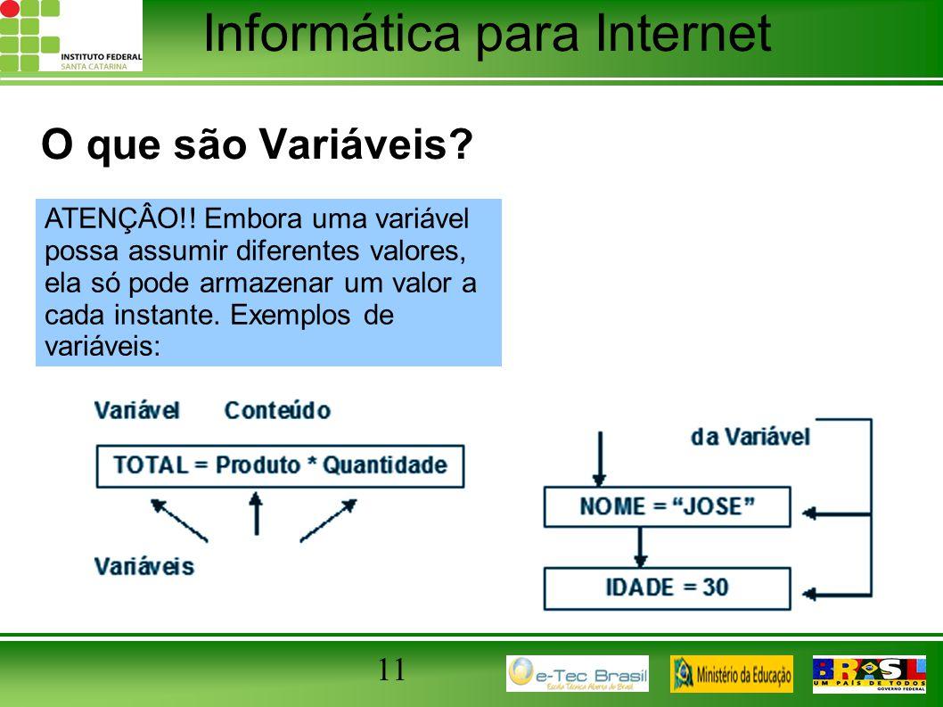 Informática para Internet 11 O que são Variáveis? ATENÇÂO!! Embora uma variável possa assumir diferentes valores, ela só pode armazenar um valor a cad