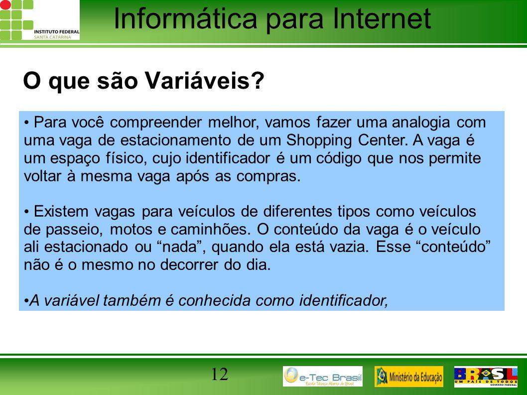 Informática para Internet 12 O que são Variáveis? Para você compreender melhor, vamos fazer uma analogia com uma vaga de estacionamento de um Shopping