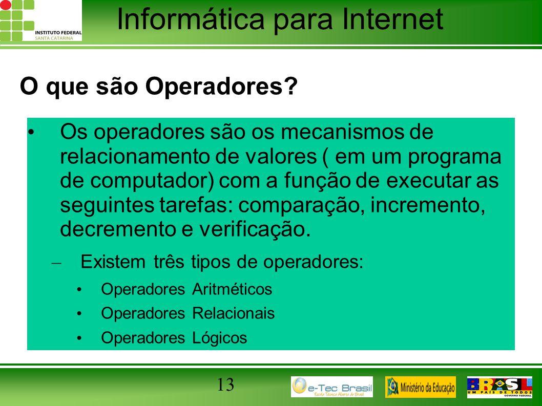 Informática para Internet O que são Operadores? Os operadores são os mecanismos de relacionamento de valores ( em um programa de computador) com a fun