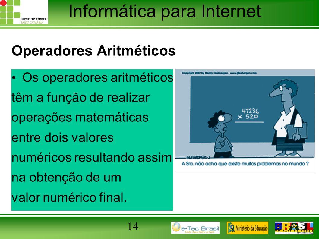 Informática para Internet Operadores Aritméticos Os operadores aritméticos têm a função de realizar operações matemáticas entre dois valores numéricos