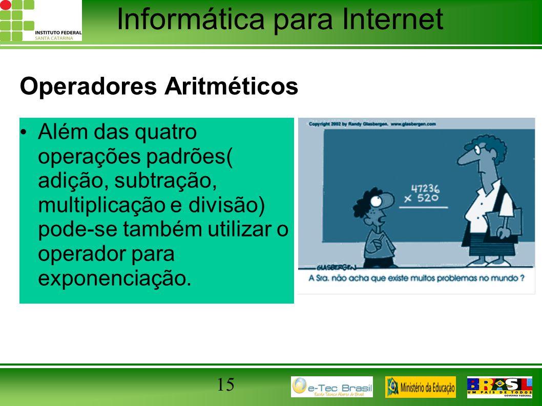 Informática para Internet Operadores Aritméticos Além das quatro operações padrões( adição, subtração, multiplicação e divisão) pode-se também utiliza