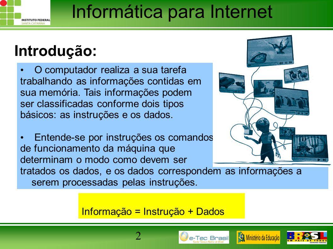 Informática para Internet 2 Introdução: O computador realiza a sua tarefa trabalhando as informações contidas em sua memória. Tais informações podem s