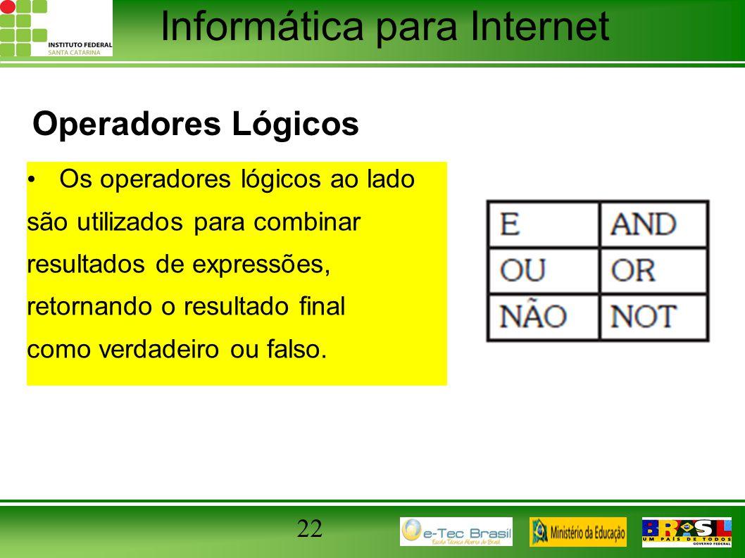 Informática para Internet Operadores Lógicos Os operadores lógicos ao lado são utilizados para combinar resultados de expressões, retornando o resulta