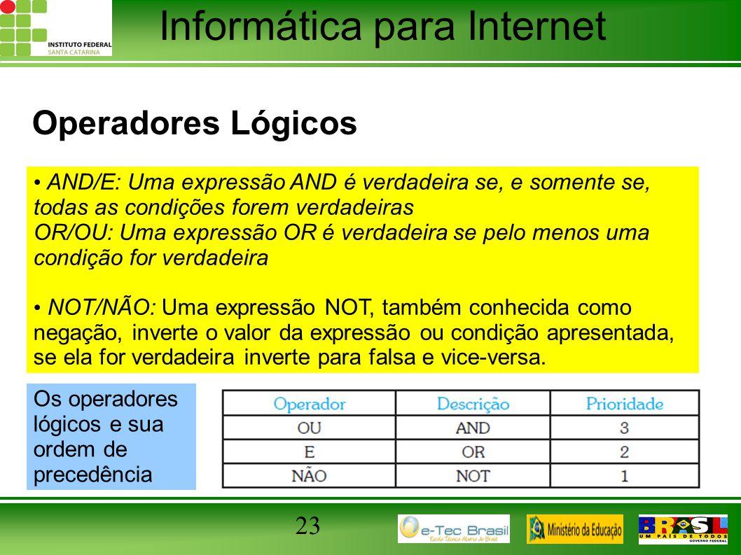 Informática para Internet Operadores Lógicos 23 AND/E: Uma expressão AND é verdadeira se, e somente se, todas as condições forem verdadeiras OR/OU: Um