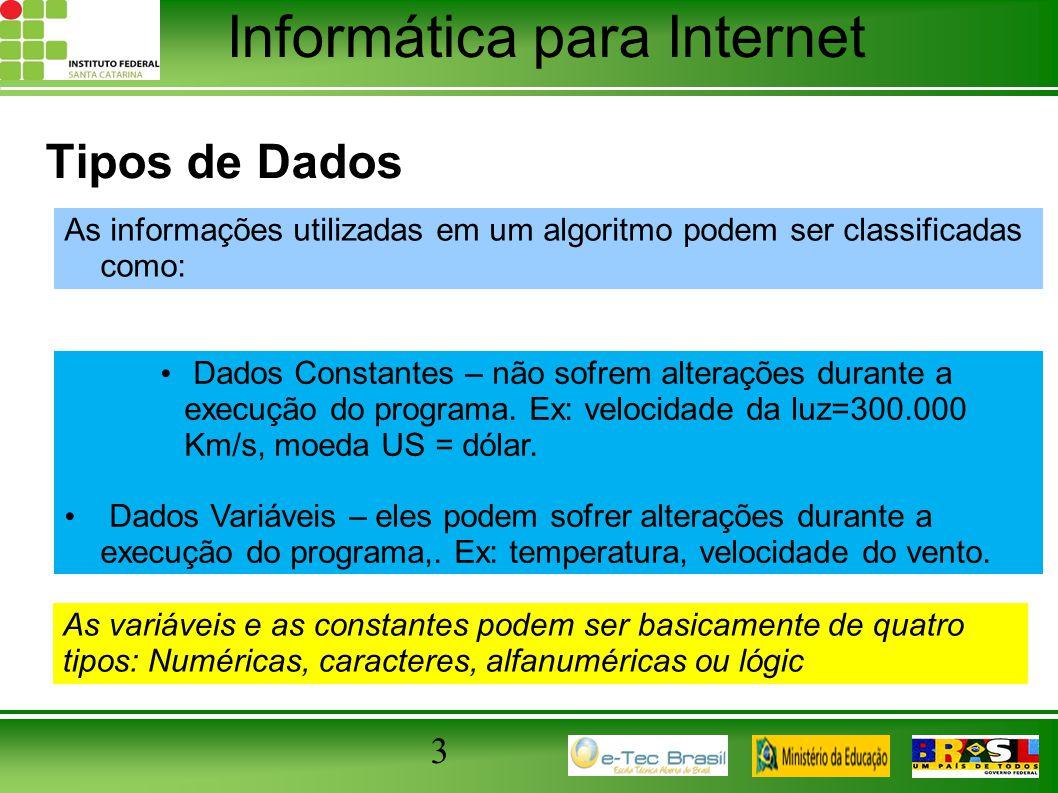 Informática para Internet 3 Tipos de Dados As informações utilizadas em um algoritmo podem ser classificadas como: Dados Constantes – não sofrem alter