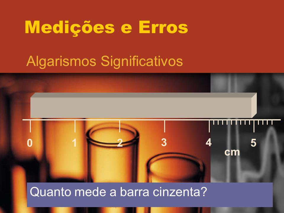 Medições e Erros Algarismos Significativos 0 12 34 5 cm Quanto mede a barra cinzenta?
