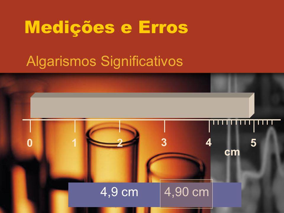Medições e Erros Algarismos Significativos 0 12 34 5 cm 4,9 cm 4,90 cm
