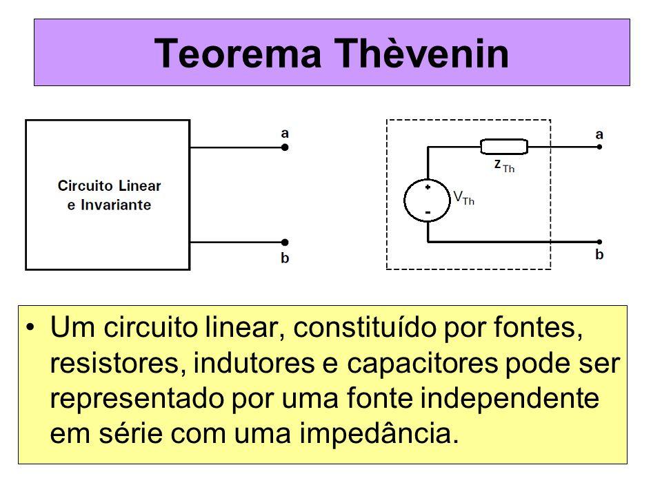 Teorema Thèvenin Um circuito linear, constituído por fontes, resistores, indutores e capacitores pode ser representado por uma fonte independente em s