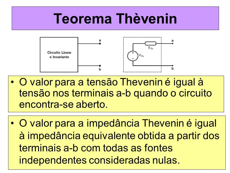 Teorema Thèvenin O valor para a tensão Thevenin é igual à tensão nos terminais a-b quando o circuito encontra-se aberto. O valor para a impedância The