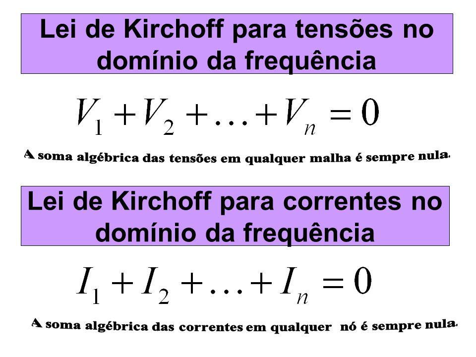 Lei de Kirchoff para correntes no domínio da frequência Lei de Kirchoff para tensões no domínio da frequência