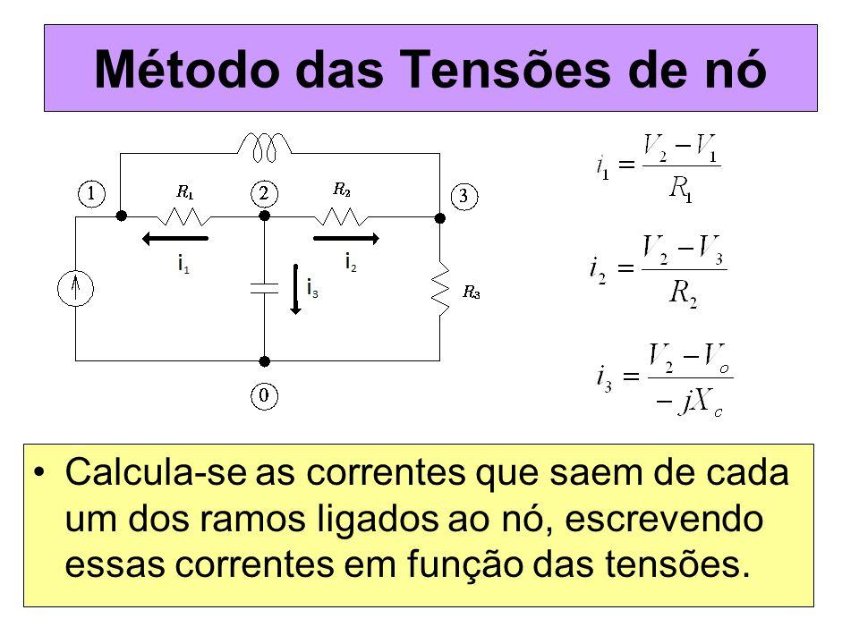 Método das Tensões de nó Calcula-se as correntes que saem de cada um dos ramos ligados ao nó, escrevendo essas correntes em função das tensões.