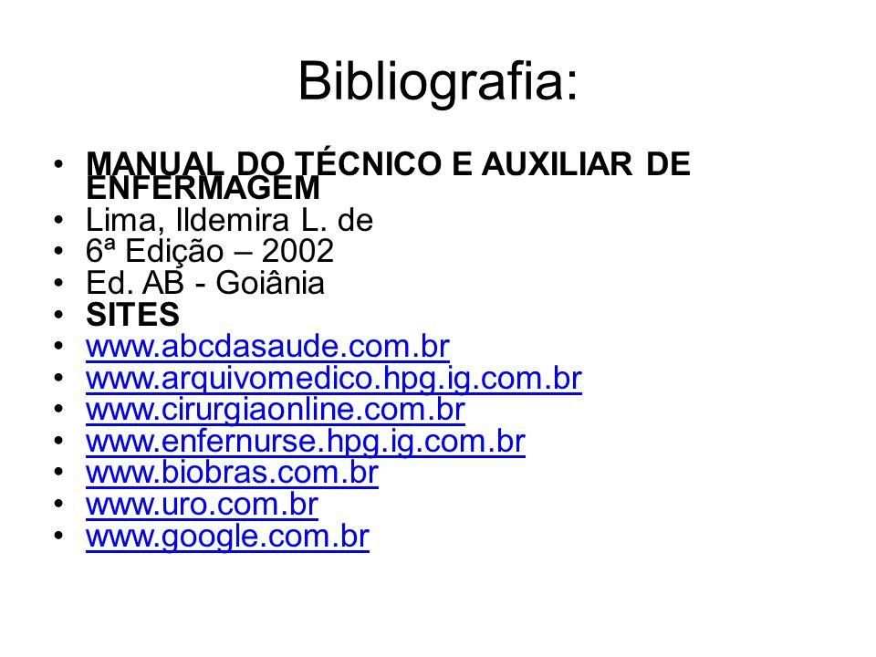 Bibliografia: MANUAL DO TÉCNICO E AUXILIAR DE ENFERMAGEM Lima, Ildemira L. de 6ª Edição – 2002 Ed. AB - Goiânia SITES www.abcdasaude.com.br www.arquiv