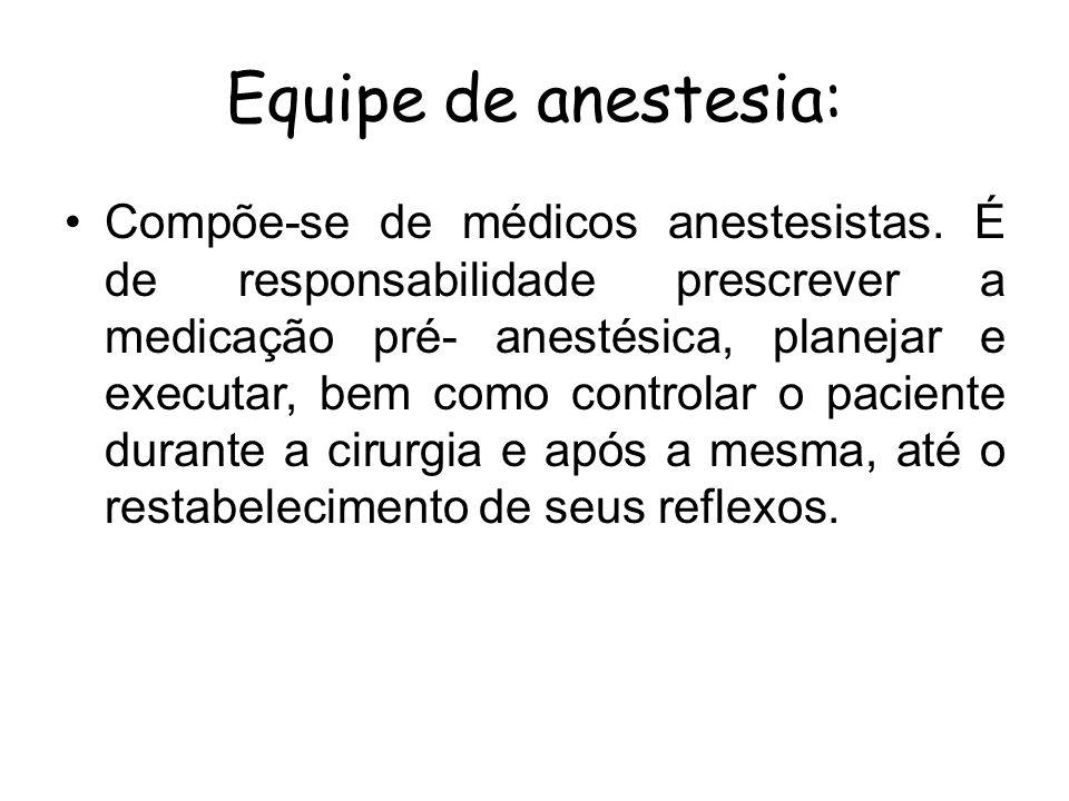 Equipe de anestesia: Compõe-se de médicos anestesistas. É de responsabilidade prescrever a medicação pré- anestésica, planejar e executar, bem como co