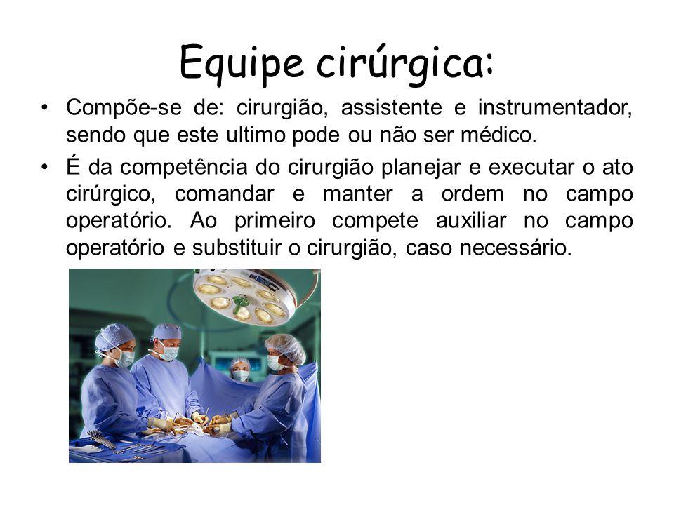 EQUIPES QUE ATUAM NO CC Equipe cirúrgica:Em cirurgias maiores, torna-se indispensável a presença do segundo assistente.