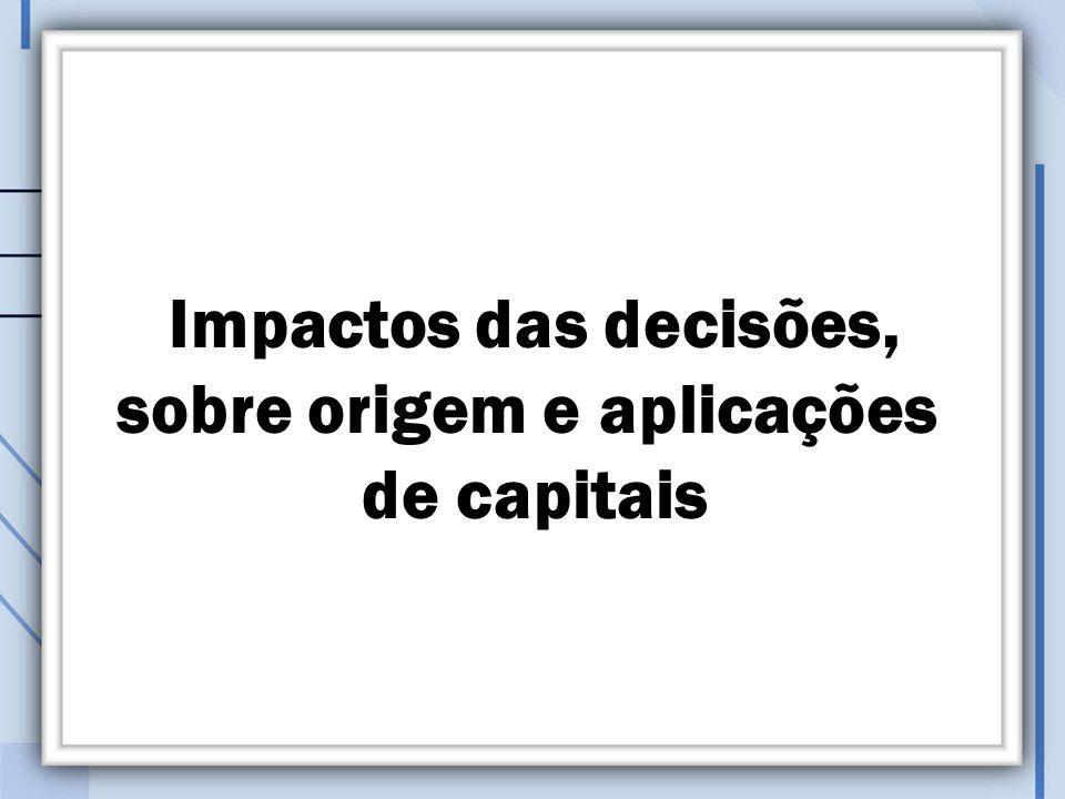 Impactos das decisões, sobre origem e aplicações de capitais