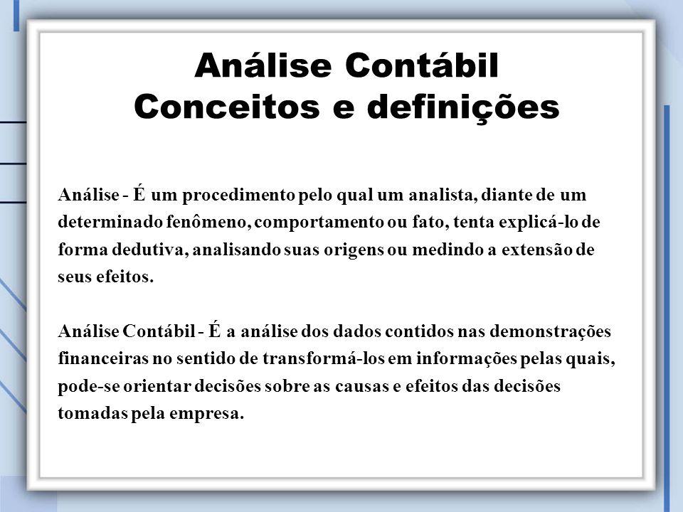 Análise Contábil Conceitos e definições Análise - É um procedimento pelo qual um analista, diante de um determinado fenômeno, comportamento ou fato, tenta explicá-lo de forma dedutiva, analisando suas origens ou medindo a extensão de seus efeitos.