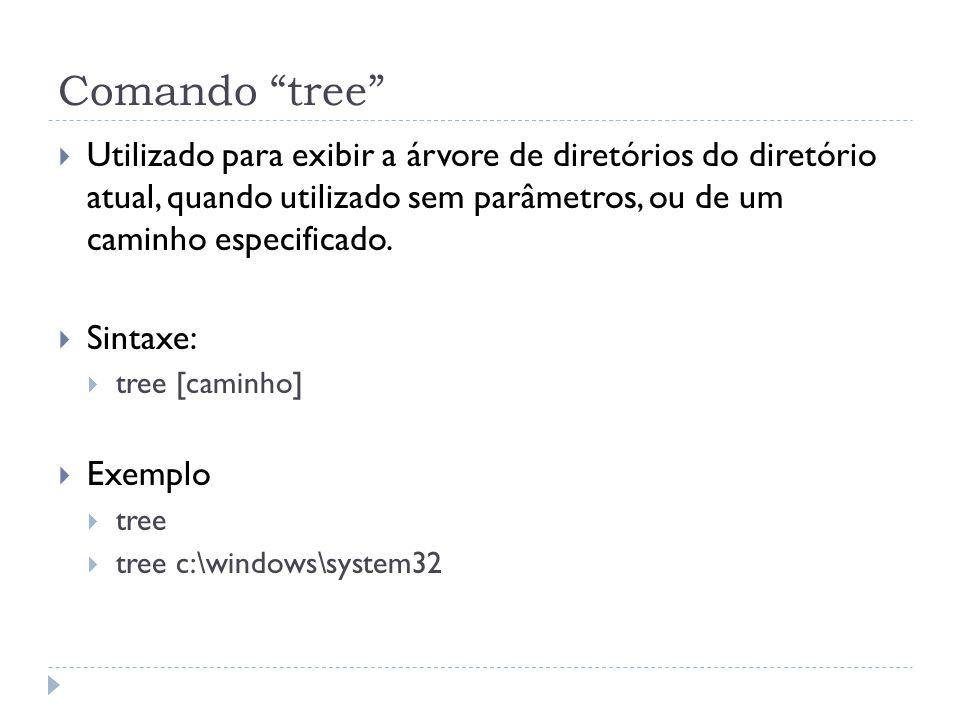 """Comando """"tree""""  Utilizado para exibir a árvore de diretórios do diretório atual, quando utilizado sem parâmetros, ou de um caminho especificado.  Si"""