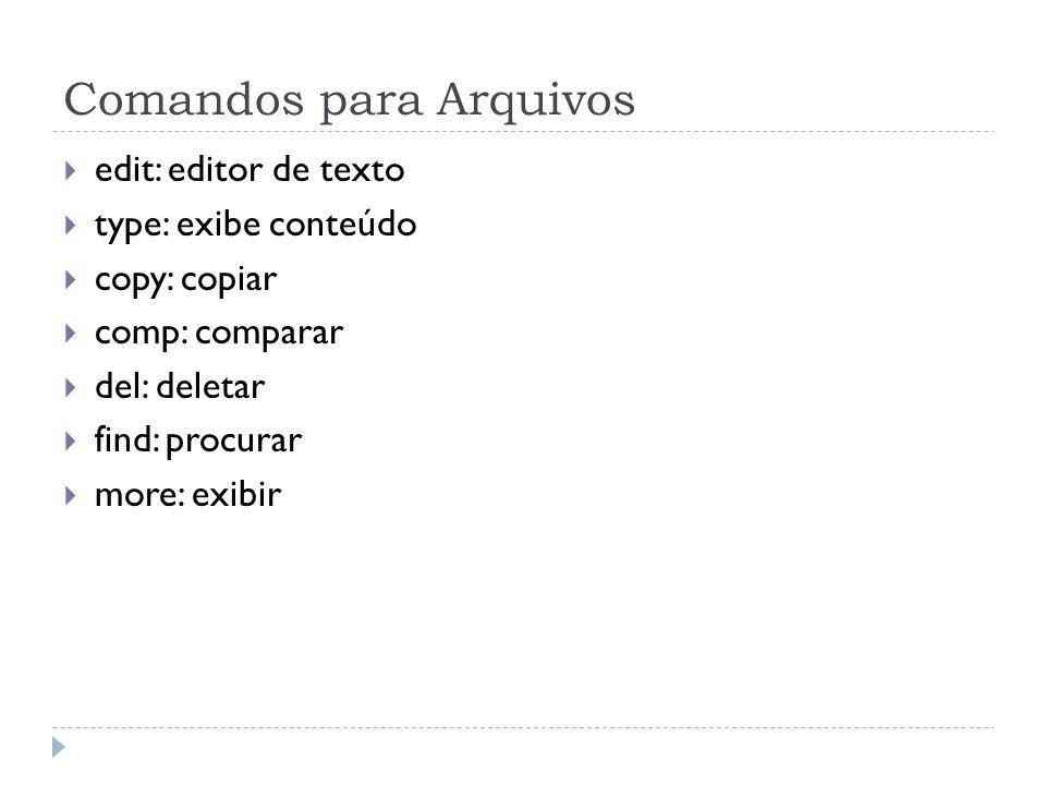 Comandos para Arquivos  edit: editor de texto  type: exibe conteúdo  copy: copiar  comp: comparar  del: deletar  find: procurar  more: exibir