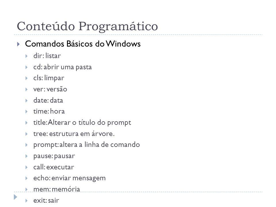 Conteúdo Programático  Comandos Básicos do Windows  dir: listar  cd: abrir uma pasta  cls: limpar  ver: versão  date: data  time: hora  title: