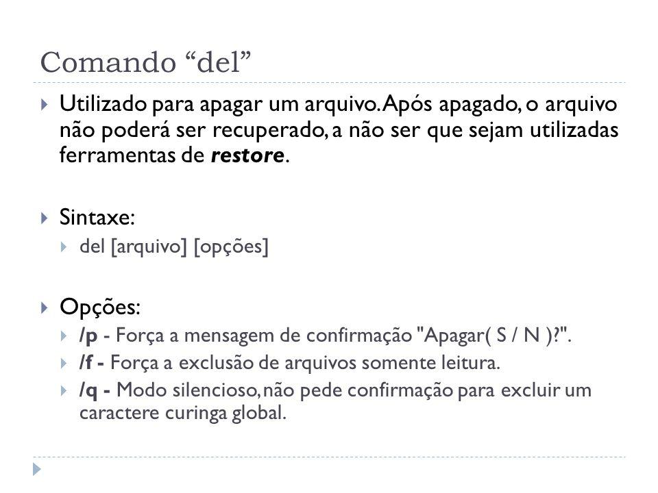 """Comando """"del""""  Utilizado para apagar um arquivo. Após apagado, o arquivo não poderá ser recuperado, a não ser que sejam utilizadas ferramentas de res"""