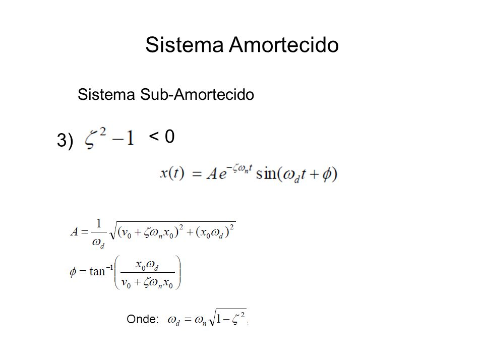 Sistema Amortecido 3) < 0 Sistema Sub-Amortecido Onde: