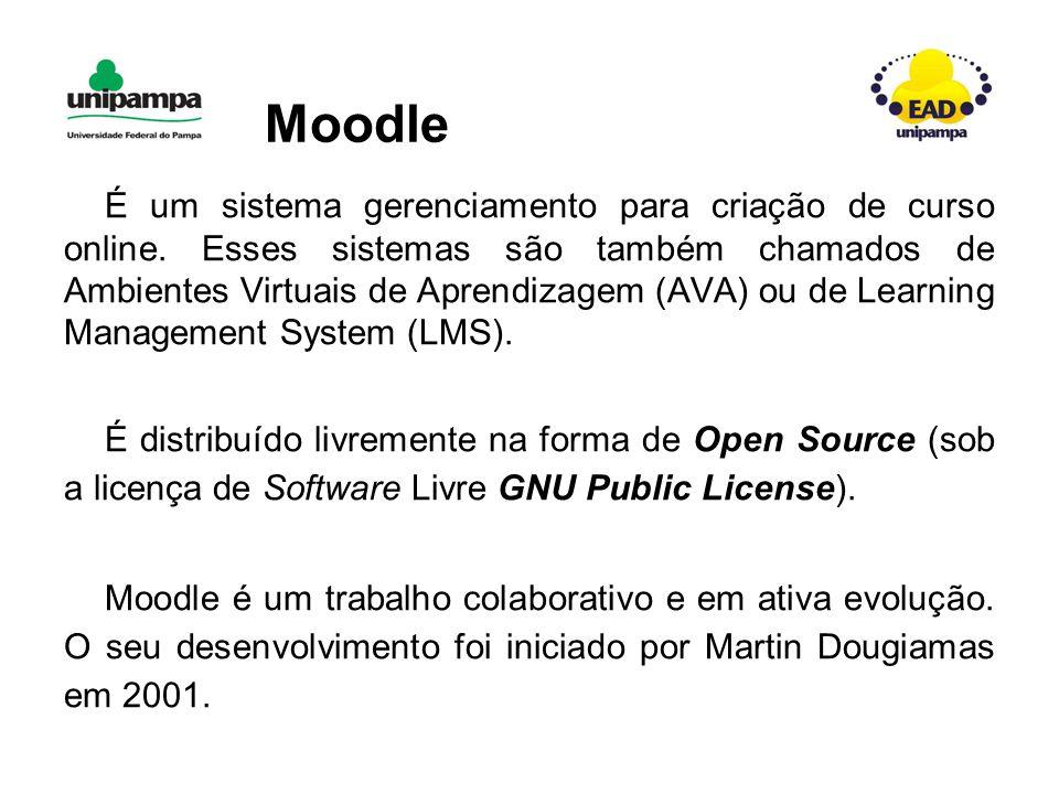 Moodle É um sistema gerenciamento para criação de curso online.
