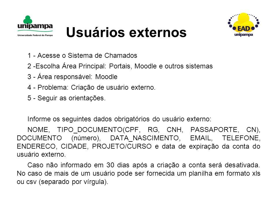 Usuários externos 1 - Acesse o Sistema de Chamados 2 -Escolha Área Principal: Portais, Moodle e outros sistemas 3 - Área responsável: Moodle 4 - Problema: Criação de usuário externo.