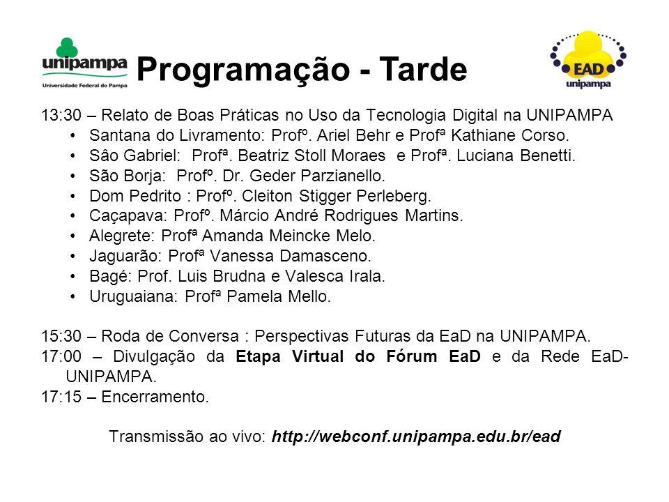 13:30 – Relato de Boas Práticas no Uso da Tecnologia Digital na UNIPAMPA Santana do Livramento: Profº.