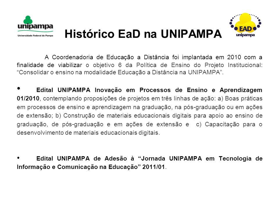A Coordenadoria de Educação a Distância foi implantada em 2010 com a finalidade de viabilizar o objetivo 6 da Política de Ensino do Projeto Institucional: Consolidar o ensino na modalidade Educação a Distância na UNIPAMPA .