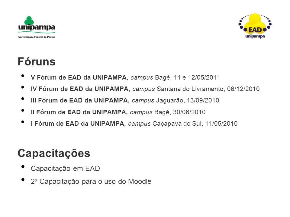 Fóruns V Fórum de EAD da UNIPAMPA, campus Bagé, 11 e 12/05/2011 IV Fórum de EAD da UNIPAMPA, campus Santana do Livramento, 06/12/2010 III Fórum de EAD da UNIPAMPA, campus Jaguarão, 13/09/2010 II Fórum de EAD da UNIPAMPA, campus Bagé, 30/06/2010 I Fórum de EAD da UNIPAMPA, campus Caçapava do Sul, 11/05/2010 Capacitações Capacitação em EAD 2ª Capacitação para o uso do Moodle