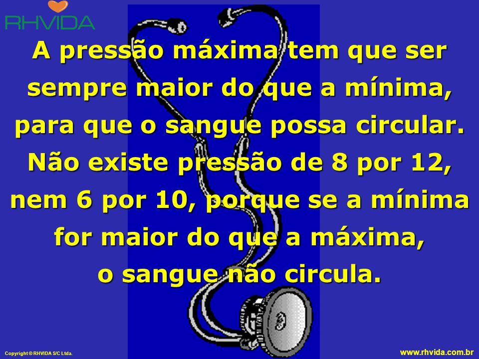 Copyright © RHVIDA S/C Ltda. www.rhvida.com.br A pressão máxima tem que ser sempre maior do que a mínima, para que o sangue possa circular. Não existe