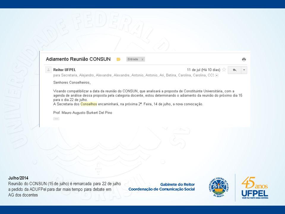 10/07/2014 UFPEL disponibiliza áudios dos debates sobre a Constituinte Universitária na página www.ufpel.edu.br/constituinte.