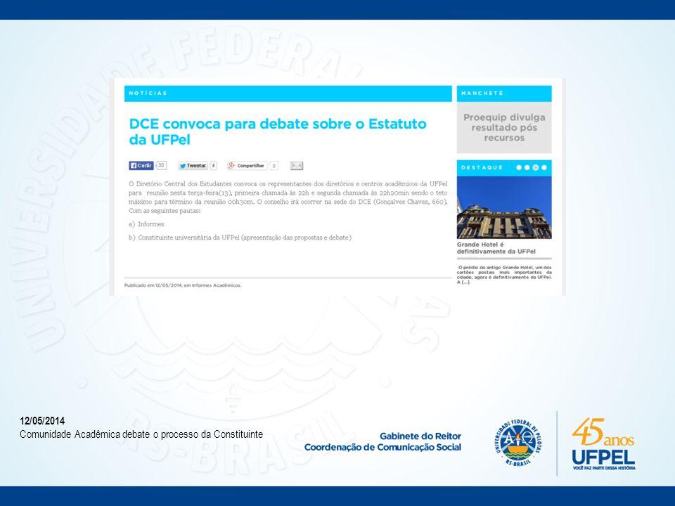 26/05/2014 Proposta da Constituinte monopoliza atenções do Consun e Cocepe.