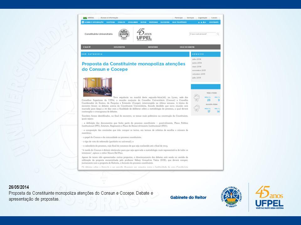 05/06/2014 Seminários O que é Constituinte Universitária? antecedem debates