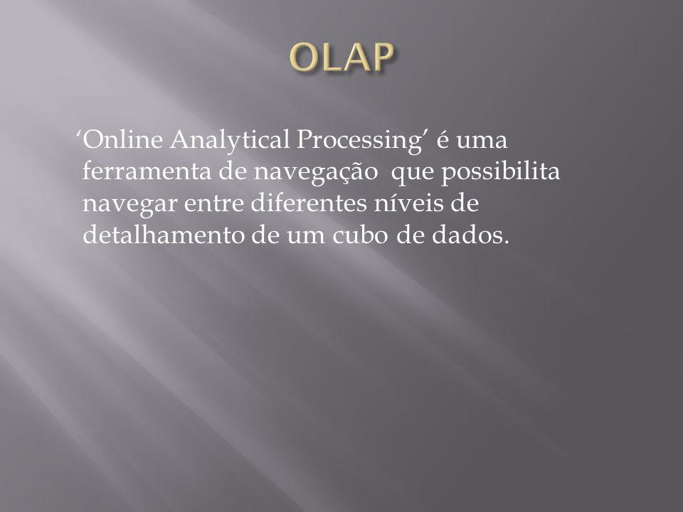 ' Online Analytical Processing' é uma ferramenta de navegação que possibilita navegar entre diferentes níveis de detalhamento de um cubo de dados.